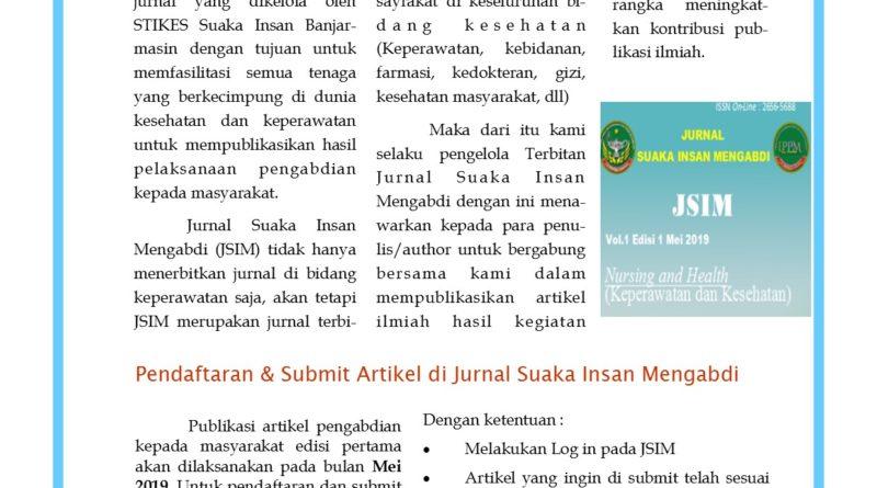 """Publikasi Jurnal Pengabdian Masyarakat """"Suaka Insan Mengabdi"""" Volume I Edisi I"""